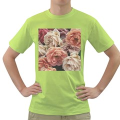 Great Garden Roses, Vintage Look  Green T Shirt