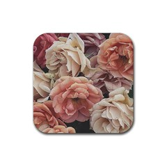 Great Garden Roses, Vintage Look  Rubber Coaster (square)