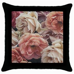 Great Garden Roses, Vintage Look  Throw Pillow Cases (black)