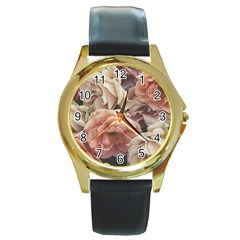 Great Garden Roses, Vintage Look  Round Gold Metal Watches
