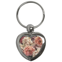 Great Garden Roses, Vintage Look  Key Chains (heart)