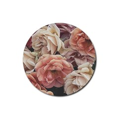 Great Garden Roses, Vintage Look  Rubber Round Coaster (4 Pack)