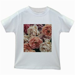 Great Garden Roses, Vintage Look  Kids White T Shirts