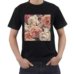 Great Garden Roses, Vintage Look  Men s T Shirt (black) (two Sided)
