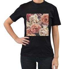 Great Garden Roses, Vintage Look  Women s T Shirt (black) (two Sided)
