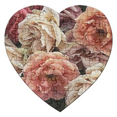 Great Garden Roses, Vintage Look  Jigsaw Puzzle (heart)