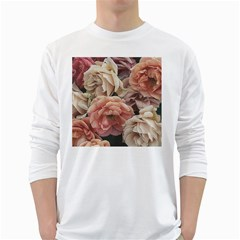Great Garden Roses, Vintage Look  White Long Sleeve T Shirts