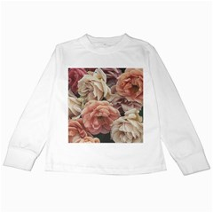 Great Garden Roses, Vintage Look  Kids Long Sleeve T-Shirts