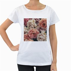 Great Garden Roses, Vintage Look  Women s Loose Fit T Shirt (white)
