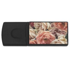 Great Garden Roses, Vintage Look  Usb Flash Drive Rectangular (4 Gb)