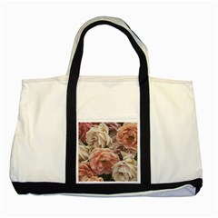Great Garden Roses, Vintage Look  Two Tone Tote Bag