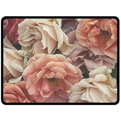 Great Garden Roses, Vintage Look  Fleece Blanket (large)