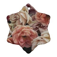 Great Garden Roses, Vintage Look  Snowflake Ornament (2-Side)