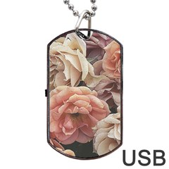 Great Garden Roses, Vintage Look  Dog Tag USB Flash (Two Sides)
