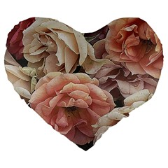 Great Garden Roses, Vintage Look  Large 19  Premium Heart Shape Cushions