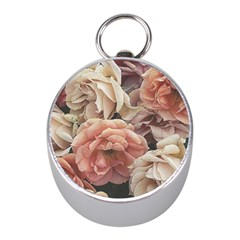 Great Garden Roses, Vintage Look  Mini Silver Compasses