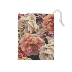 Great Garden Roses, Vintage Look  Drawstring Pouches (medium)