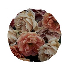 Great Garden Roses, Vintage Look  Standard 15  Premium Flano Round Cushions