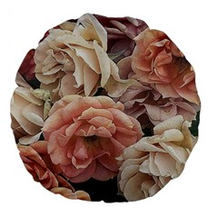 Great Garden Roses, Vintage Look  Large 18  Premium Flano Round Cushions