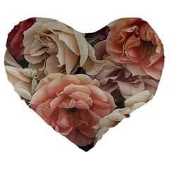 Great Garden Roses, Vintage Look  Large 19  Premium Flano Heart Shape Cushions