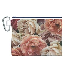 Great Garden Roses, Vintage Look  Canvas Cosmetic Bag (l)
