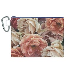 Great Garden Roses, Vintage Look  Canvas Cosmetic Bag (XL)