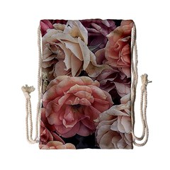 Great Garden Roses, Vintage Look  Drawstring Bag (small)