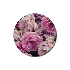 Great Garden Roses Pink Rubber Round Coaster (4 Pack)