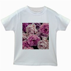 Great Garden Roses Pink Kids White T-Shirts