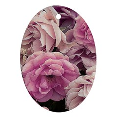 Great Garden Roses Pink Oval Ornament (two Sides)
