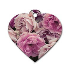 Great Garden Roses Pink Dog Tag Heart (two Sides)