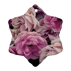 Great Garden Roses Pink Snowflake Ornament (2 Side)