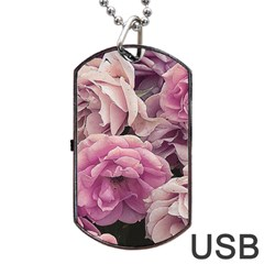 Great Garden Roses Pink Dog Tag Usb Flash (one Side)