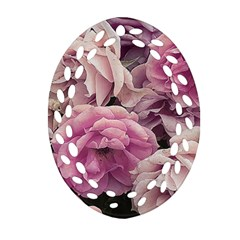 Great Garden Roses Pink Oval Filigree Ornament (2 Side)