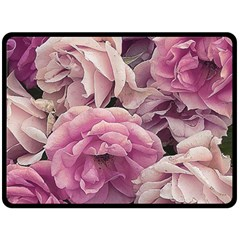 Great Garden Roses Pink Double Sided Fleece Blanket (Large)