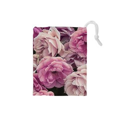 Great Garden Roses Pink Drawstring Pouches (small)