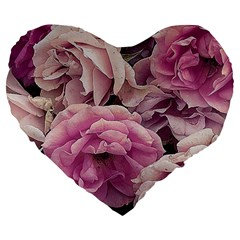 Great Garden Roses Pink Large 19  Premium Flano Heart Shape Cushions