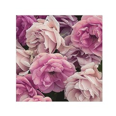 Great Garden Roses Pink Small Satin Scarf (Square)