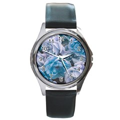 Great Garden Roses Blue Round Metal Watches