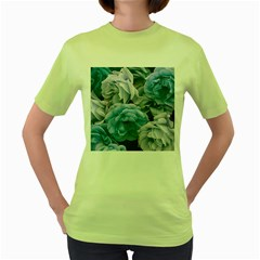 Great Garden Roses Blue Women s Green T Shirt
