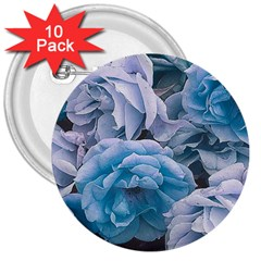 Great Garden Roses Blue 3  Buttons (10 Pack)