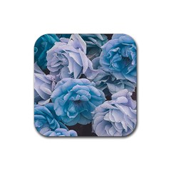 Great Garden Roses Blue Rubber Square Coaster (4 Pack)