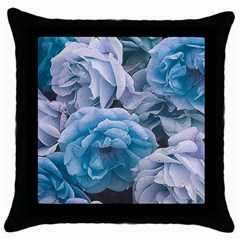 Great Garden Roses Blue Throw Pillow Cases (black)