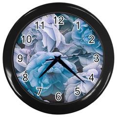 Great Garden Roses Blue Wall Clocks (black)