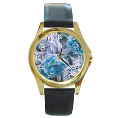 Great Garden Roses Blue Round Gold Metal Watches