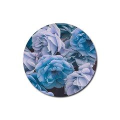 Great Garden Roses Blue Rubber Round Coaster (4 Pack)