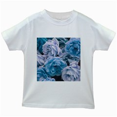 Great Garden Roses Blue Kids White T-Shirts