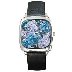 Great Garden Roses Blue Square Metal Watches