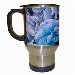 Great Garden Roses Blue Travel Mugs (white)