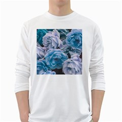 Great Garden Roses Blue White Long Sleeve T Shirts